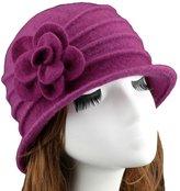Urban CoCo Women's Floral Trimmed Wool Blend Cloche Winter Hat