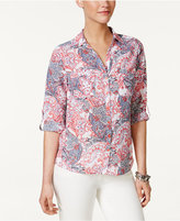 NY Collection Petite Floral-Print Utility Shirt