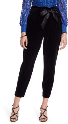 Halogen Paperbag Waist Velour Ankle Pants
