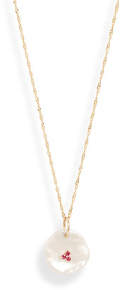 Poppy Finch 14k Gold Pearl Petal Ruby Pendant Necklace