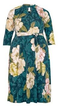 Dorothy Perkins Womens **Dp Curve Green Floral Print Pleat Neck Dress, Green