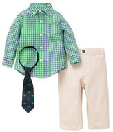 Little Me Baby Boys Three-Piece Plaid Cotton Shirt, Tie and Pants Set