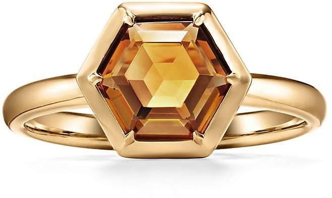 Tiffany & Co. Paloma's Studio hexagon ring in 18k gold with a citrine