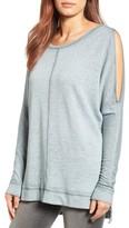 Petite Women's Caslon Cold Shoulder Burnout Sweatshirt