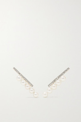 Mateo 14-karat Gold, Diamond And Pearl Earrings - one size