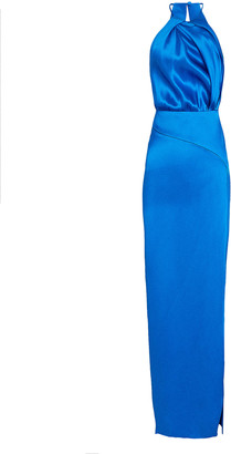 Mason by Michelle Mason Pleated Silk Halter Dress