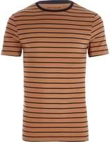 River Island Mens Light Brown stripe print muscle fit T-shirt