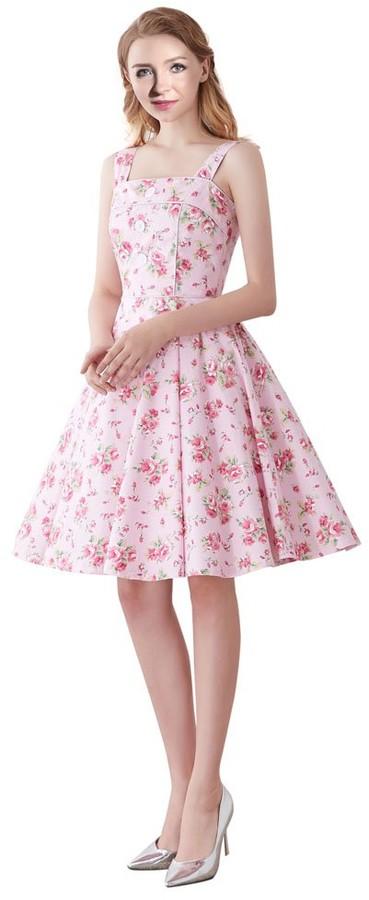 , White Cherries US6//UK10//EU38 M FiftiesChic Womens 100/% Cotton Halterneck Floral Print 50s Inspired Vintage Rockabilly Party Dress