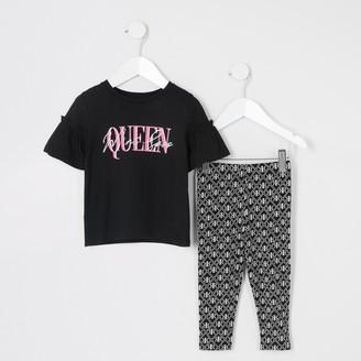 River Island Mini girls Black printed frill T-shirt outfit