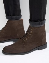 Lambretta Brogue Boots In Brown Suede