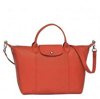 Longchamp Le Pilage Sienna Red Leather Medium Tote Bag