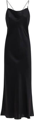 Luna Di Seta Silk Satin Slip Dress W/ Crystal Straps