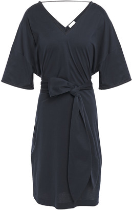 Brunello Cucinelli Belted Bead-embellished Cotton-jersey Dress