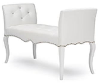 Baxton Studio Kristy White Faux Leather Classic Seating Bench