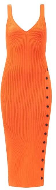 Self-Portrait V-neck Buttoned Side-slit Ribbed Midi Dress - Orange