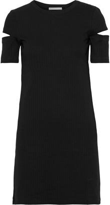 Helmut Lang Cutout Ribbed Cotton-jersey Mini Dress