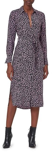 Equipment Leopard-Print Silk Midi Shirtdress