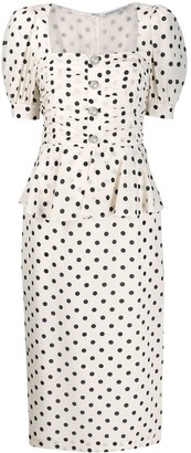 Alessandra Rich Polka-Dot Print Dress
