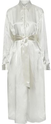 MM6 MAISON MARGIELA Tie-front Printed Charmeuse Maxi Shirt Dress