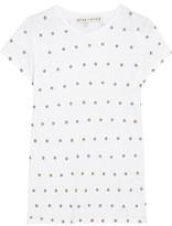 Alice + Olivia Robin Embellished Slub Linen T-Shirt
