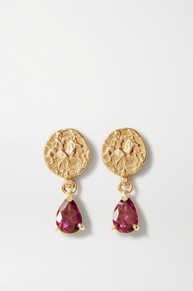 NATASHA SCHWEITZER Coin 9-karat Gold Garnet Earrings - one size