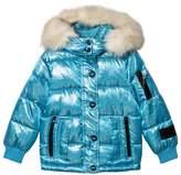 Diadora Pale Blue Glitter Welland Piumino Corto Nylon Hooded Jacket