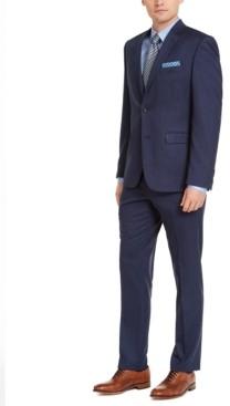 Perry Ellis Men's Slim-Fit Stretch Blue Pinstripe Suit