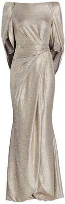 Talbot Runhof Metallic Jersey Donut-Sleeve Gown