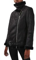 Topshop April Faux Shearling Biker Jacket