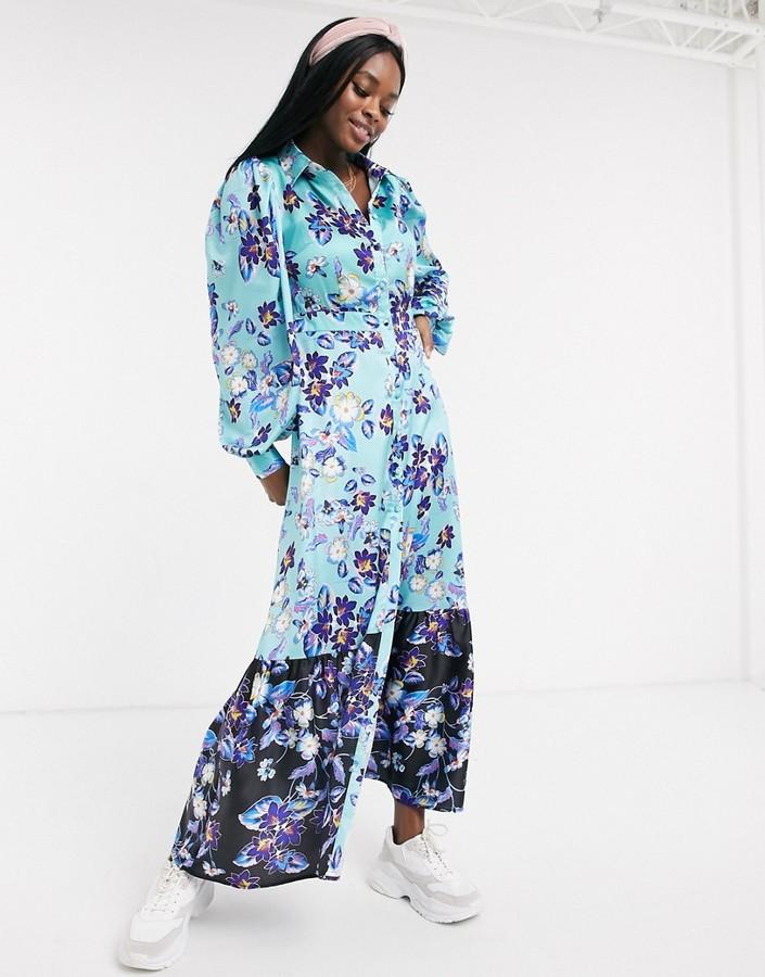 Liquorish long sleeve maxi dress with contrast hem in teal floral