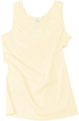 Van Cleef & Arpels Women's/Ladies Sleeveless Shirt -Vest- Undershirt Underwear with Extra Large lace 100% Cotton (8/10