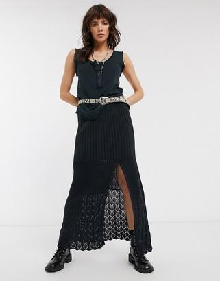 Free People Bari crochet thigh split midi skirt
