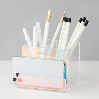 Pottery Barn Teen Acrylic Iridescent Pencil Cup/Phone Holder