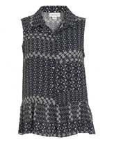 Velvet by Graham & Spencer Womens Leyva Corsica Print Vintage Black Cream Shirt