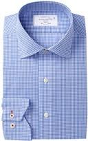 Lorenzo Uomo Small Plaid Trim Fit Dress Shirt