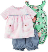 Carter's 3-Pc. Striped Top, Bodysuit & Chambray Bubble Shorts Set, Baby Girls (0-24 months)