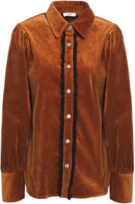 Ganni Lace-trimmed Cotton-blend Corduroy Shirt