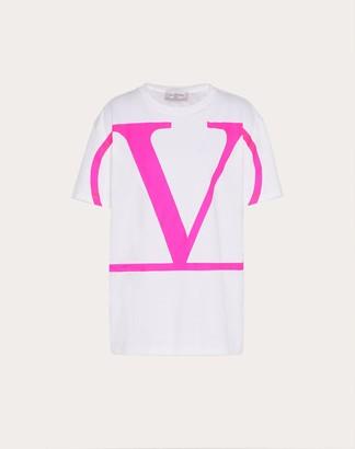 Valentino Vlogo Print T-shirt Women White/neon Fuchsia Cotton 100% S
