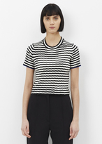 Proenza Schouler white / black short sleeve cropped knit crewneck