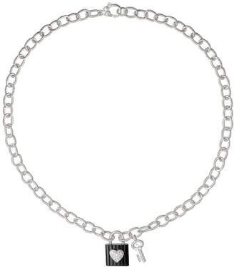 Judith Ripka Sterling Onyx Lock & Key Charm Necklace