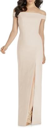 Dessy Collection Off the Shoulder Bow Back Evening Dress