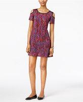 ECI Printed Cold-Shoulder A-line Dress
