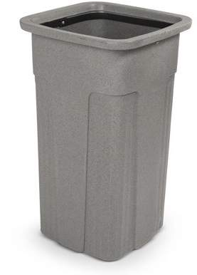 Toter 25 Gal. Slim Trash Can - Graystone - Rectangle