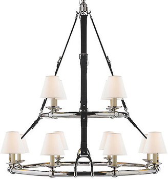 Ralph Lauren Home Westbury Double-Tier Chandelier - Nickel/Chocolate