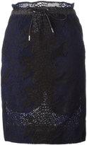 Sacai drawstring guipure skirt - women - Cotton/Cupro - 2