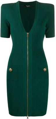 Balmain V-neck knitted dress