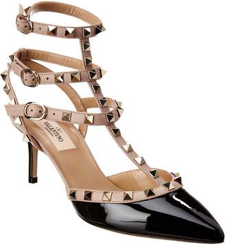 Valentino Rockstud Caged 65 Patent Ankle Strap Pump