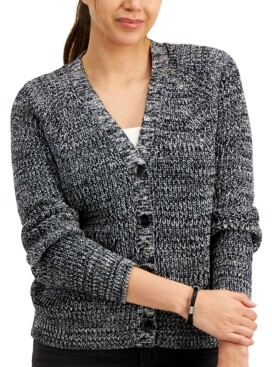 Style&Co. Style & Co Marled Cotton Boyfriend Cardigan, Created for Macy's