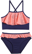 Pink Platinum Pink & Navy Ruffle-Accent Bikini - Infant Toddler & Girls