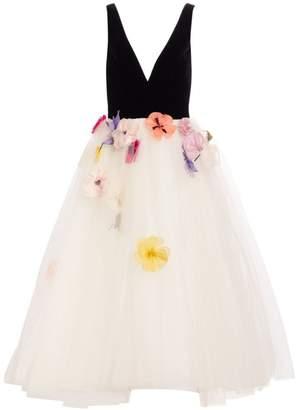 Monique Lhuillier Velvet Bodice Applique Tulle Cocktail Dress
